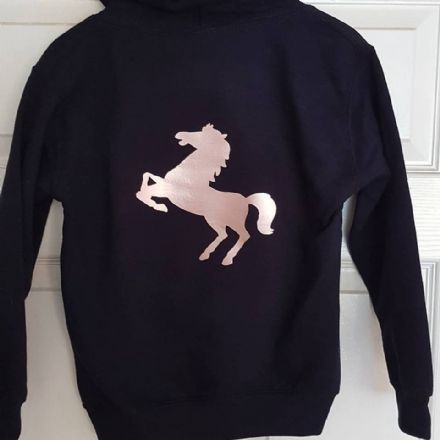 Personalised Navy Hoody with Rose Gold Horse